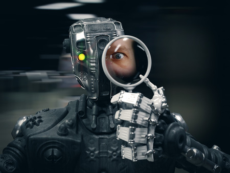 android robot: Robot  holding a Magnifying glass with human face conceptual composition