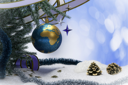 mettalic: Happy New Year and Merry Christmas background with snow and christmas tree decorations Stock Photo