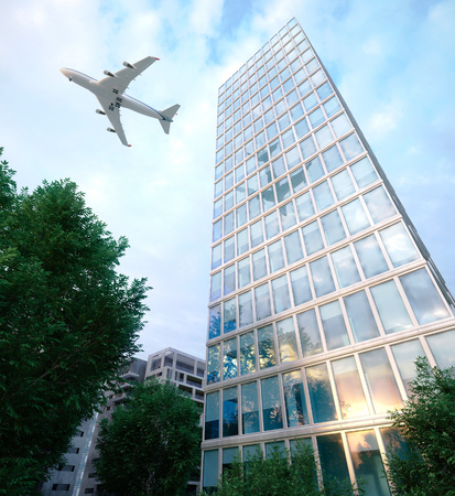 down town: buildings with flying airplane and trees concept business and tourism background 3d illustration Stock Photo