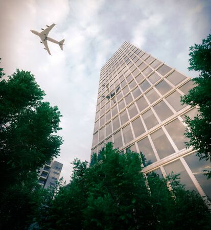 business buildings: buildings with flying airplane and trees concept business and tourism background 3d illustration Stock Photo