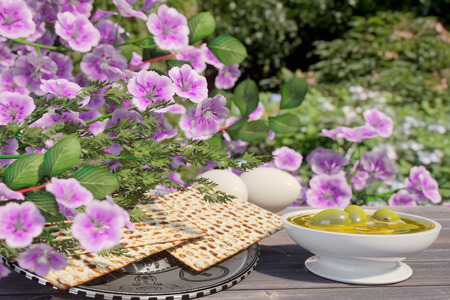 matzo: Jewish celebrate pesach passover with eggs,olive, matzo and flowers on nature background