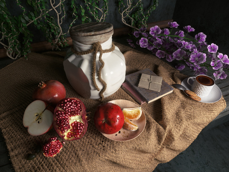 israel agriculture: jar,apples,pomegranate,coffe cup with books and orange on canvas drapery conceptual still-life