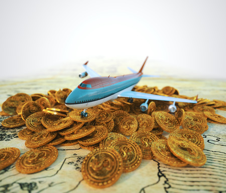 passenger plane: passenger plane with gold coins travel business background concept 3d illustration
