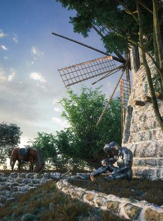 don quixote: Don Quixote and windmill conception illustration 3d composition