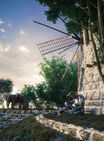 don quijote: Don Quijote y el molino de viento ilustraci�n concepci�n composici�n 3d