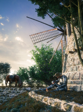 durability: Don Quixote and windmill conception illustration 3d composition