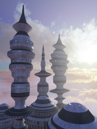 concrete block: aerial view of Sci Fi City with clouds and sun 3d illustration