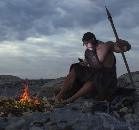 call history: primitive man siting on the stone with smartphone concept 3d illustration