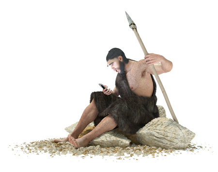 call history: primitive man with smartphone on isolate white concept 3d illustration Stock Photo