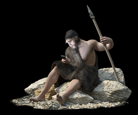 call history: primitive man with smartphone on isolate black concept 3d illustration Stock Photo