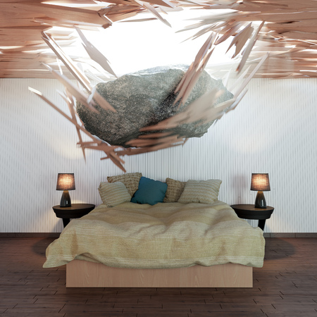 stone of destiny: bedroom and falling stone conceptual 3d illustration