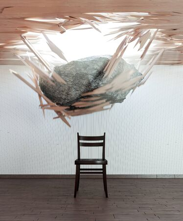 perish: chair and falling stone conceptual 3d illustration