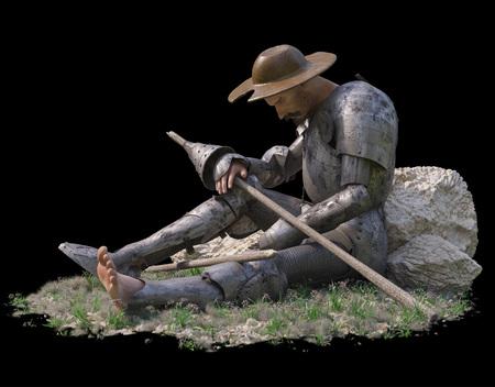 don quixote: sitting Don Quixote figure on isolate black background 3d illustration