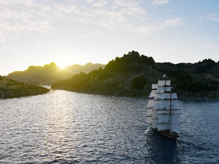 荒れた海でのセーリング船が夕日を背景にクローズ アップ