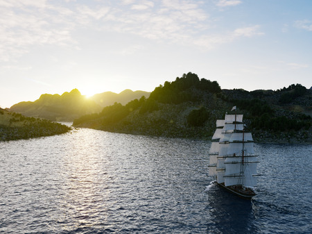 Navegación de la nave en los mares agitados de cerca en el fondo del atardecer