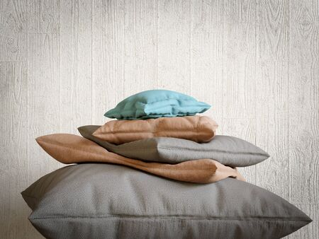 pyramid peak: pillows collection as mountain peak relax and comfort concept composition photo