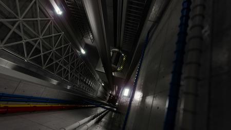 엘리베이터 샤프트 내부의 엘리베이터 리프트 뷰 기술 및 산업 컨셉