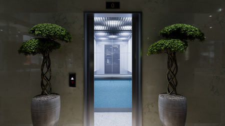 Open and closed chrome metal office building elevator doors concept