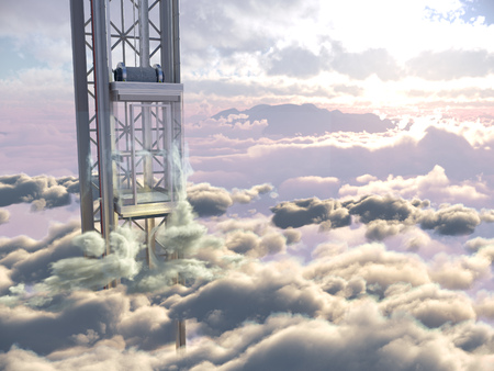 empty sky elevator concept on the sky clouds background concept composition 3d illustration