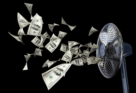 dryer: fan and winding money concept background business composition on isolate black