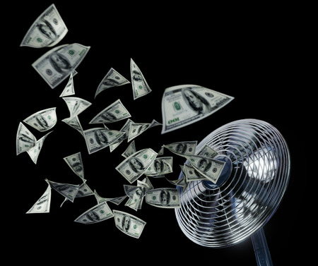 fan and winding money concept background business composition on isolate black