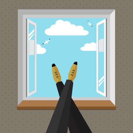 lay down: Legs of man on the windowsill Illustration