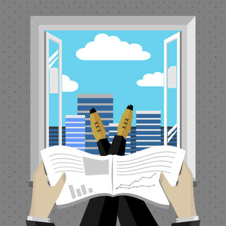 Businessman looking annual report thrown feet on the window sill. Illustration