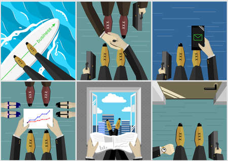 businessman shoes: Set with different business illustration