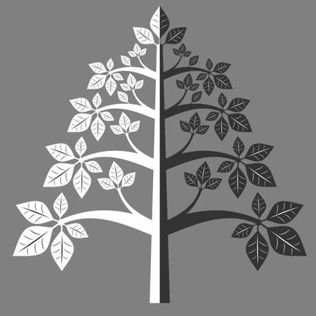 Silhouette of a tree with symmetrical leaves. Ilustração