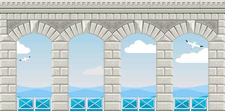 Arcade de quatre arcs avec des balustrades surplombant la mer. Banque d'images - 46812504