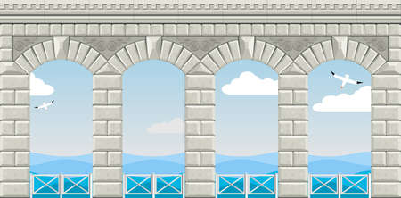 Arcade of four arches with railings overlooking the sea. Illustration