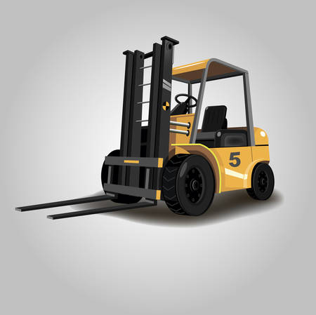 Orange small cargo warehouse forklift Vectores