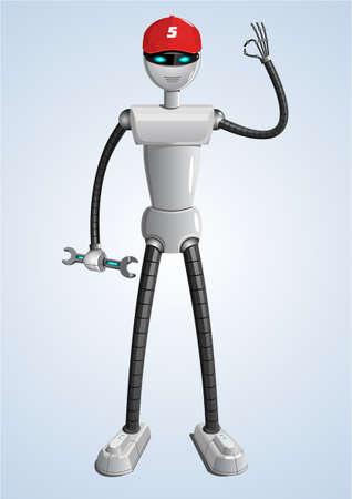 android robot: White android robot for repairs