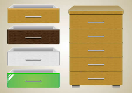 chipboard: Chest of drawers with different textures cover