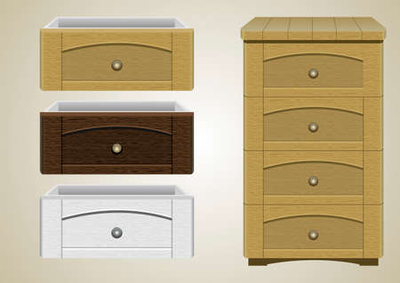 fittings: Chest of drawers with different textures cover