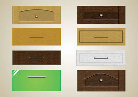 handles: Drawers with different textures cover