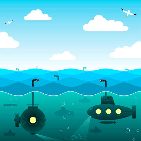 Submarines in the open sea