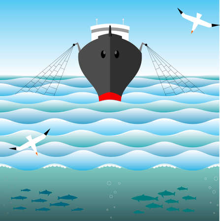 albatross: Fishing trawler on the high seas and albatross in sky.