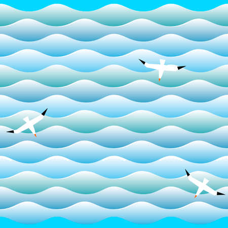 albatross: Texture of sea waves with albatross in vector.