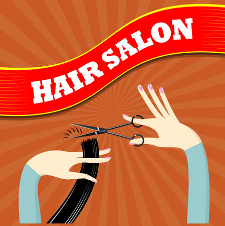 hairdresser salon: Banner for the hairdresser or beauty salon in the flat style.