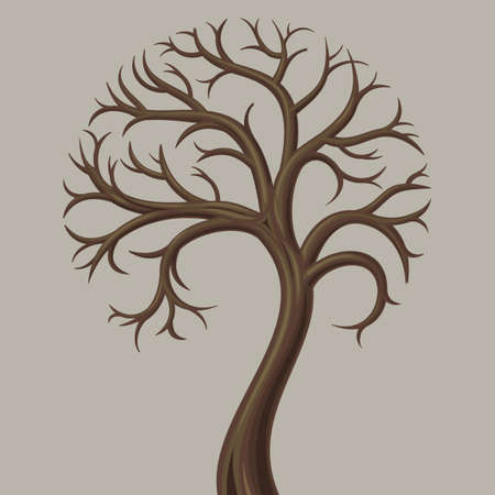 sprouting: Trunk curve low deciduous tree without leaves. Illustration