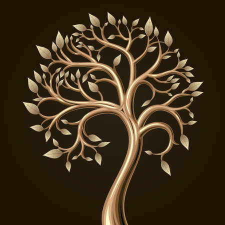 gold metal: Golden art tree with leaves in vector graphics.