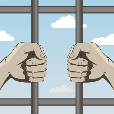 Human hands gripping the bars in vector graphics.