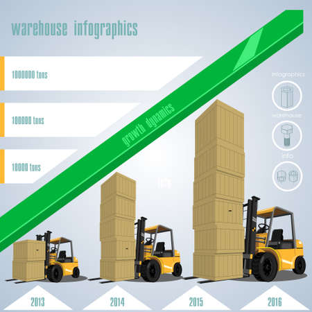 dynamic growth: Set elements of infographics topic warehouses and cargo delivery.