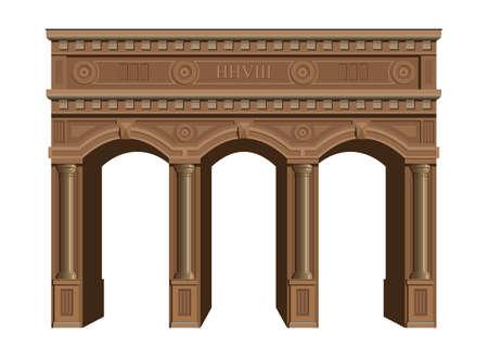 mediterranean homes: Ancient arcade with wooden columns, triumphal arch.