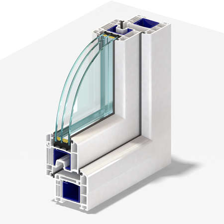Slice window profile from PVC windiws and doors. 免版税图像