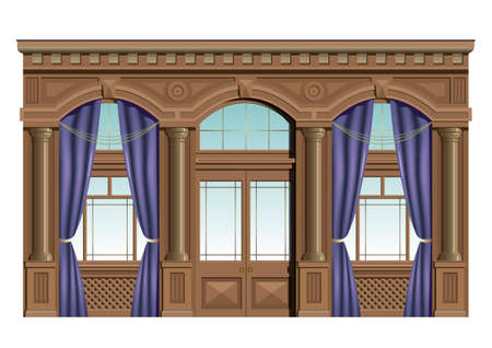 decorative balconies: Interior wood facade in classical style with curtains, windows, doors exit.