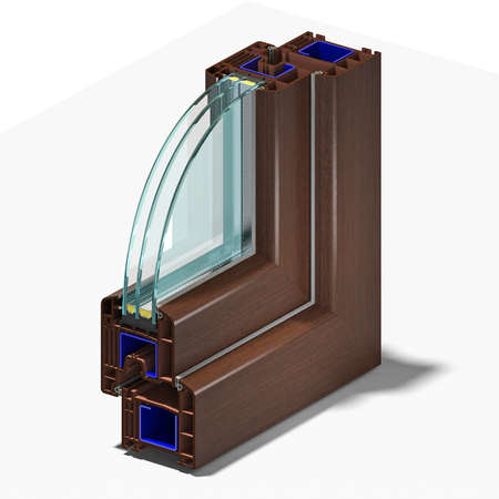 Slice window profile from PVC windiws and doors. Фото со стока