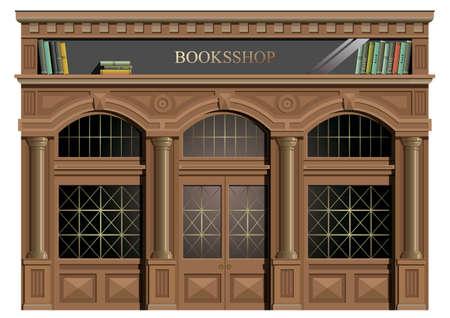 De buitengevel van hout in de klassieke stijl, ramen, deuren, afrit, boekhandel of bibliotheek in vector.