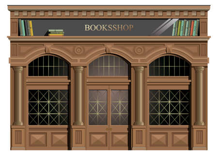 The exterior facade of wood in the classic style, windows, doors, exit, bookstore or library in vector.